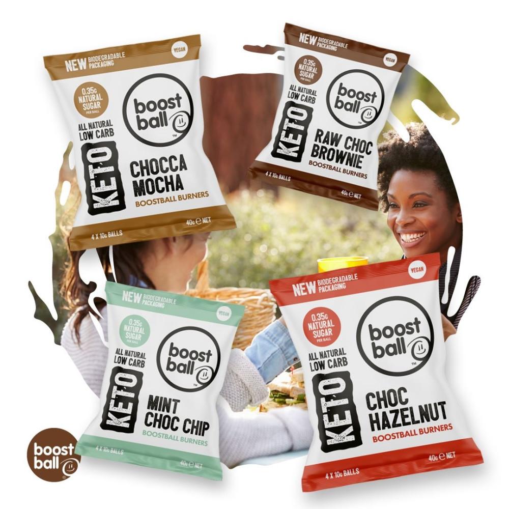 Bile Proteice Vegane Keto cu Brownie si Ciocolata Raw, fara Gluten, Boostball, 40 gr