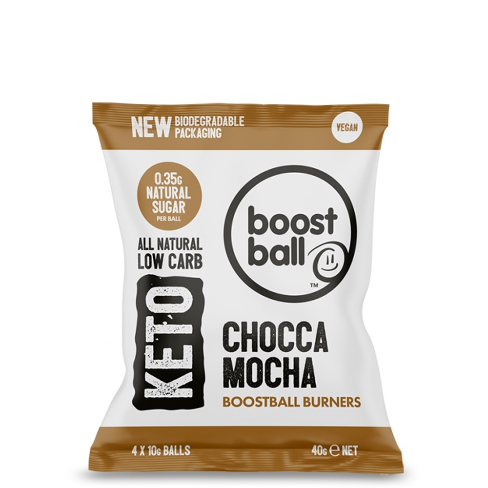 Bile Proteice Vegane Keto cu Chocca Mocha, fara Gluten, Boostball, 40 gr