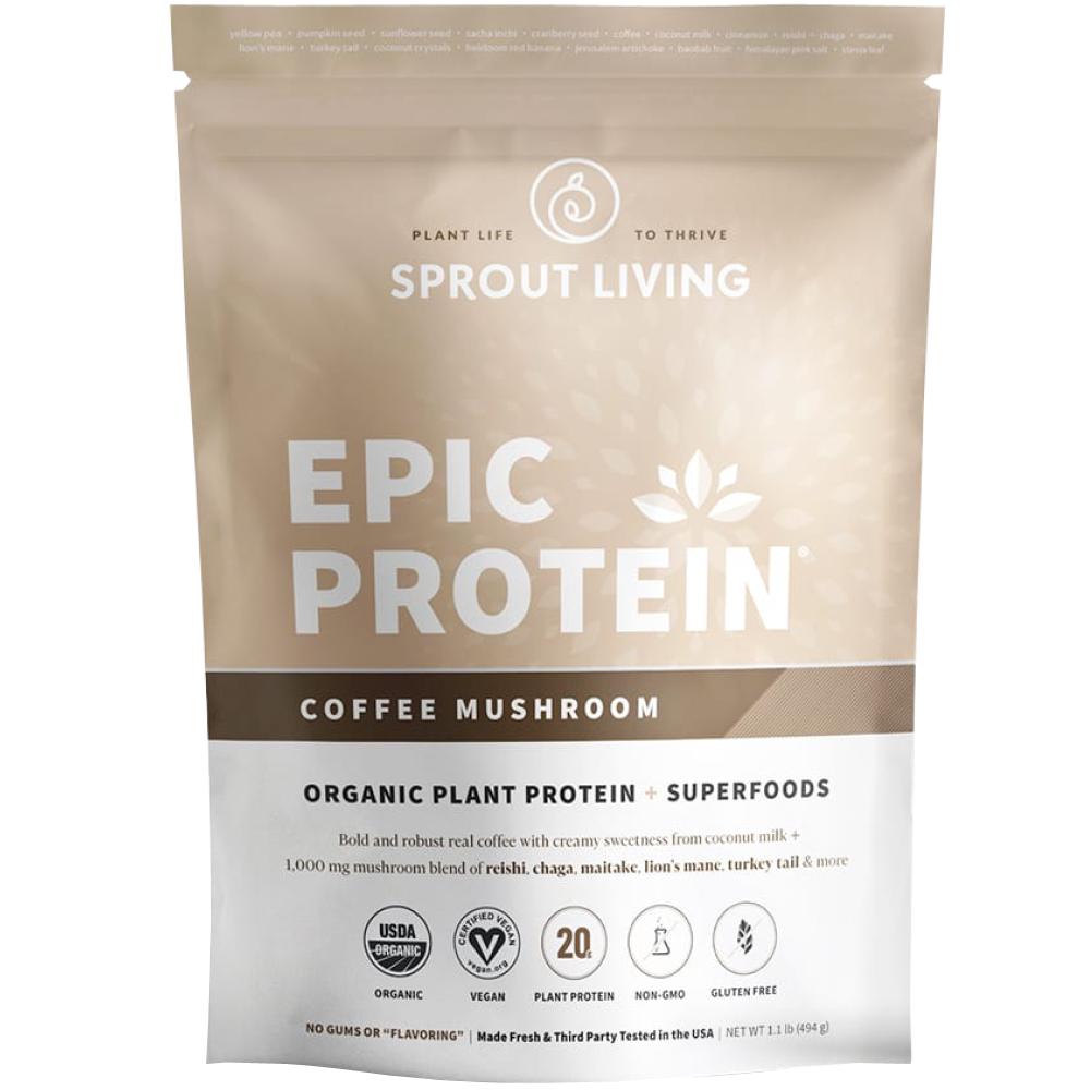 Pudra proteica Vegana 100% naturala cu Cafea si Ciuperci, fara Gluten, Epic Protein, Eco, 494 gr
