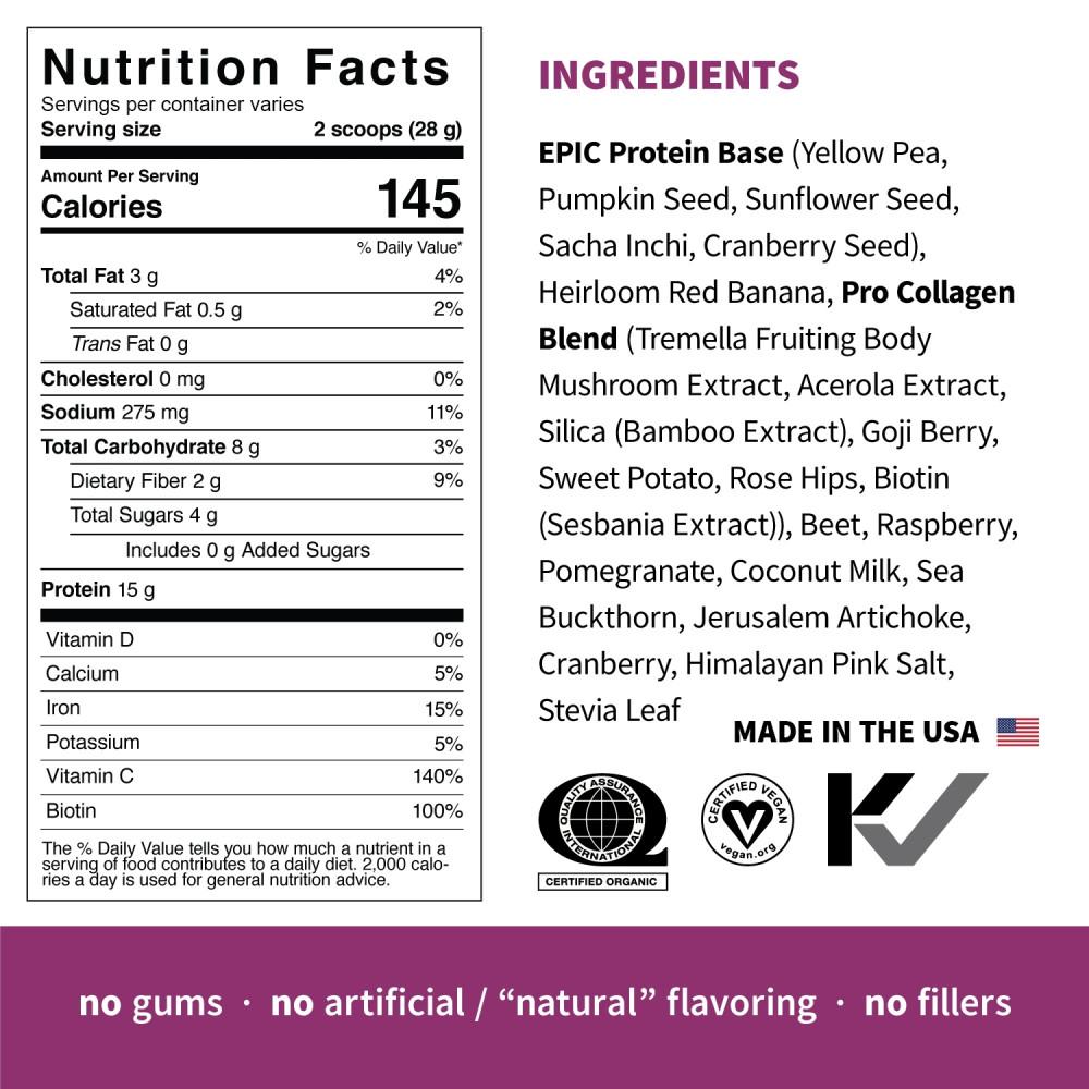 Pudra proteica Vegana 100% naturala Pro Collagen Premium, fara Gluten, Epic Protein, Eco, 364 gr