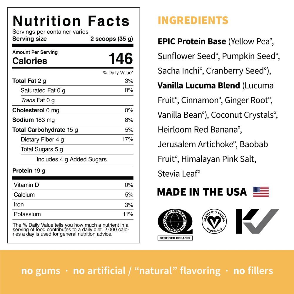 Pudra proteica Vegana 100% naturala cu Vanilie si Lucuma, fara Gluten, Epic Protein, Eco, 455 gr