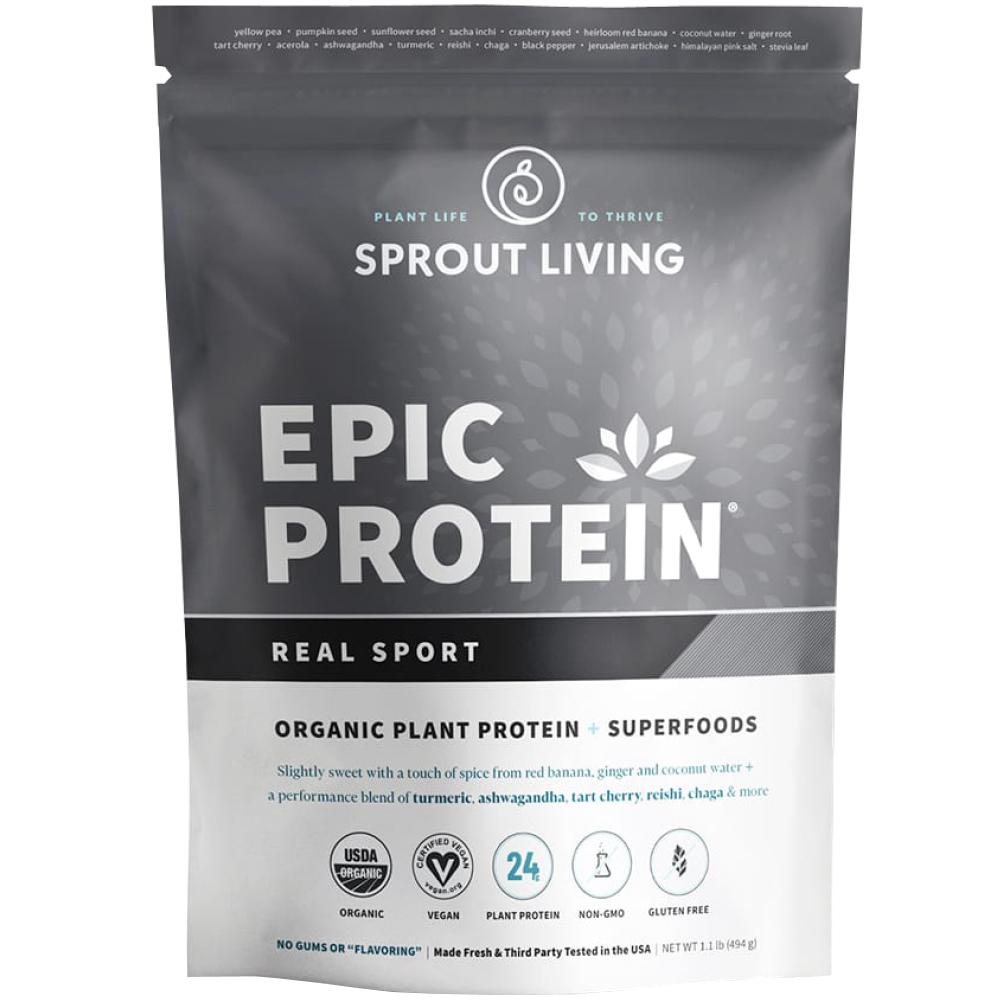 Pudra proteica Vegana 100% naturala Real Sport Premium, fara Gluten, Epic Protein, Eco, 494 gr
