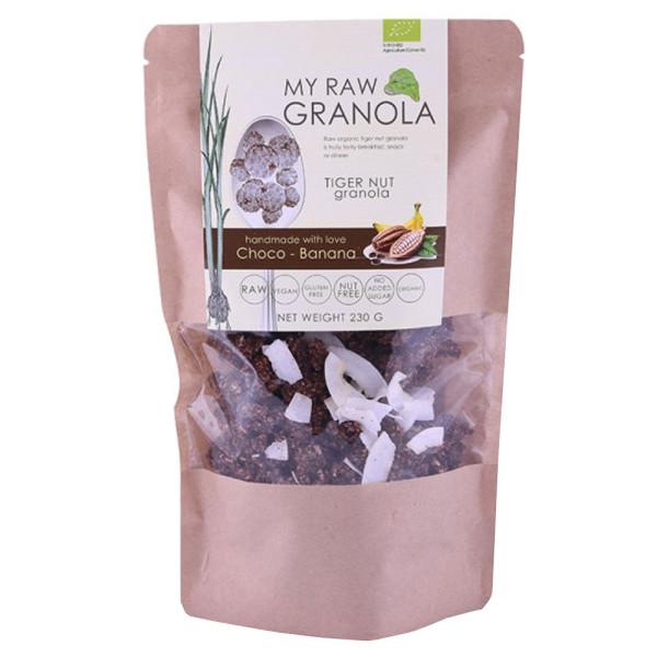 Cereale Granola Raw din Tigernut cu Ciocolata si Banane, Fara Gluten, My Raw Granola, Eco, 230 gr
