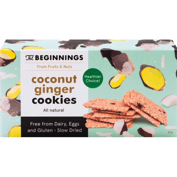Biscuiti Vegani cu Cocos si Ghimbir, fara Gluten, The Beginnings, 80 gr