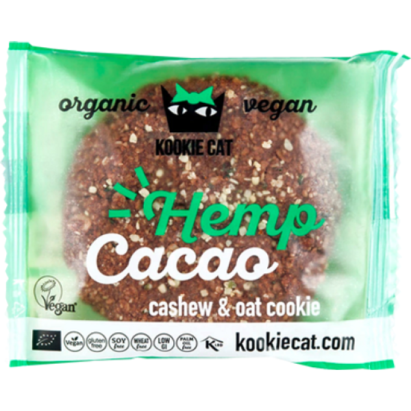 Cookie cu Seminte de Canepa si Cacao, fara Gluten, Kookie Cat, Eco, 50 gr