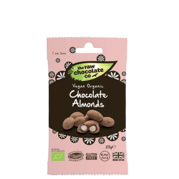 Migdale Invelite in Ciocolata, Snack Raw Vegan, fara Gluten, The Raw Chocolate Company, Eco, 25 gr