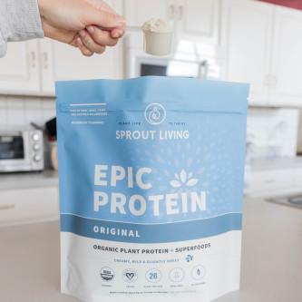 Pudra proteica Vegana 100% naturala - Original, fara Gluten, Epic Protein, Eco, 455 gr